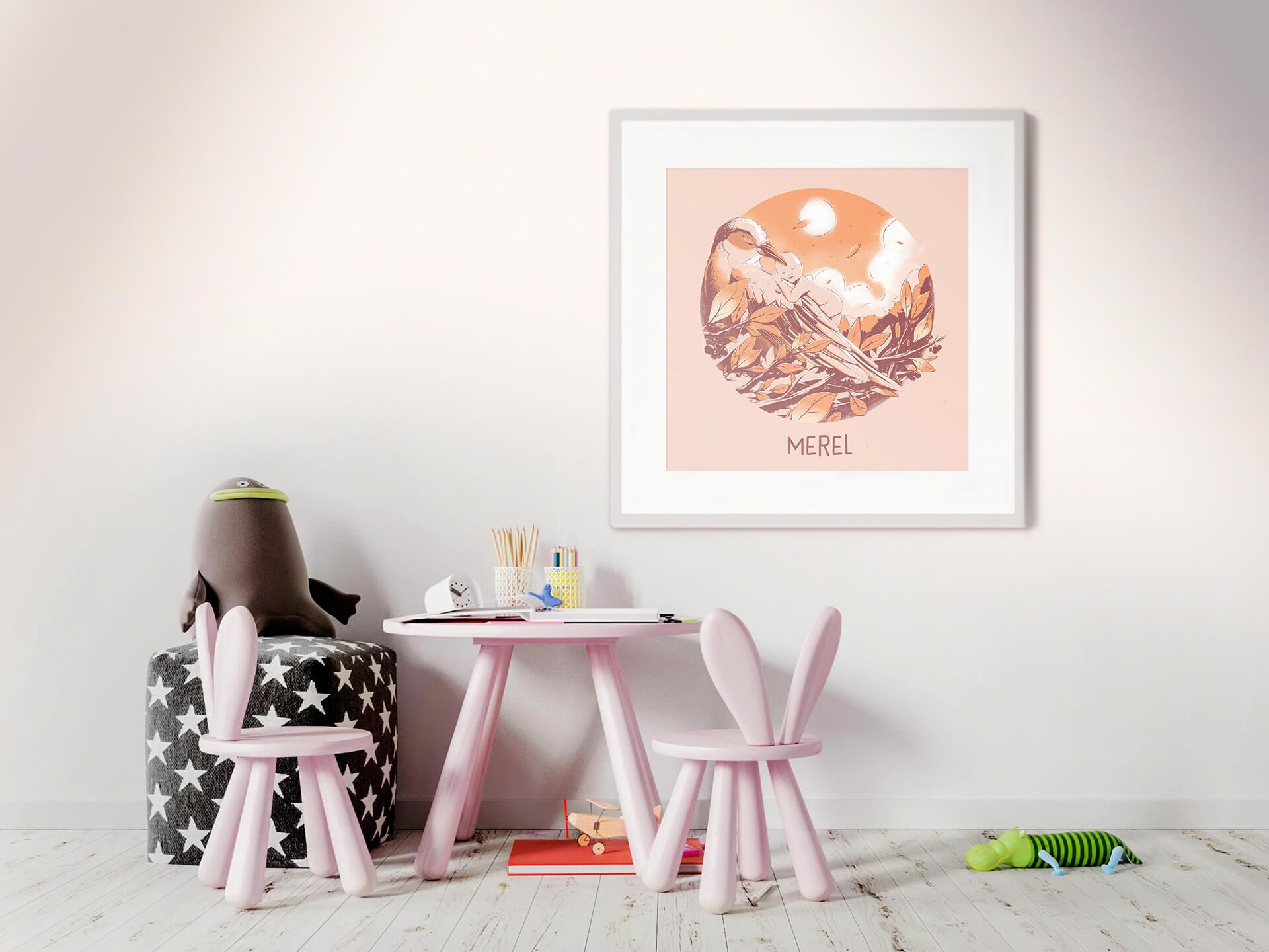 Merel Birth announcement poster